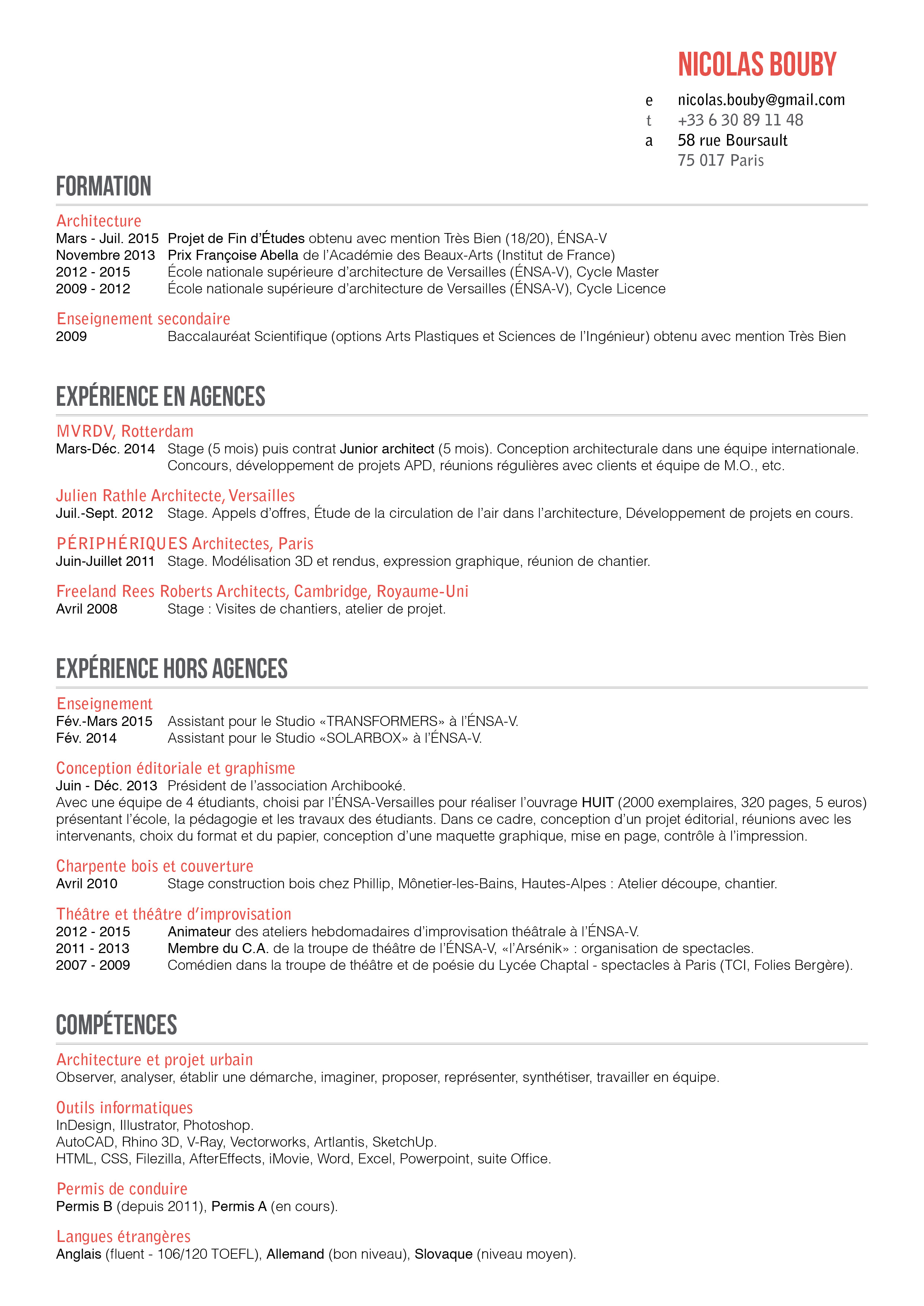 nicolas bouby cv - Curriculum Vitae French